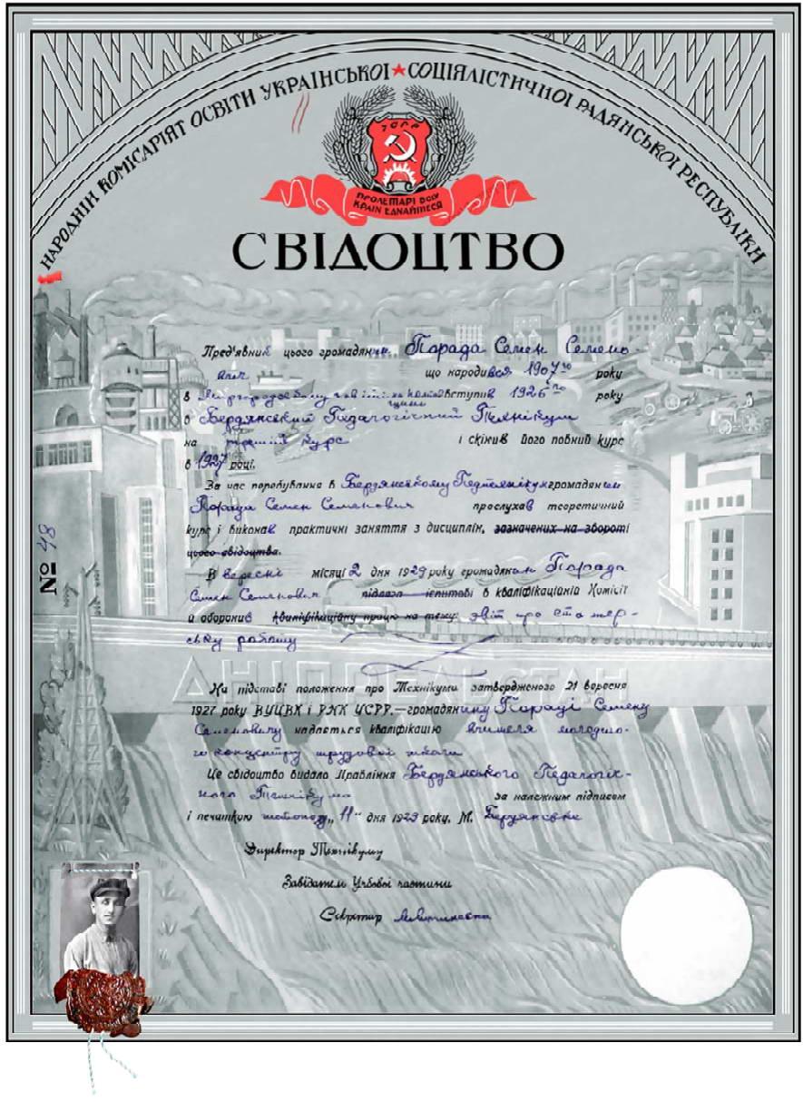 25. Свідоцтво, видане Бердянським…